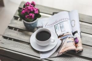 coffee flower reading magazine